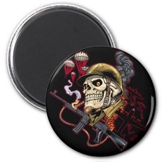 Airborne or Marine Paratrooper Skull with Helmet 2 Inch Round Magnet