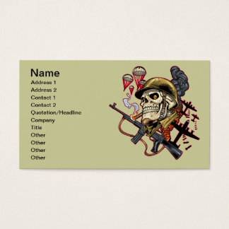 Airborne or Marine Paratrooper Skull with Helmet Business Card