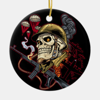 Airborne or Marine Paratrooper Skull with Helmet Ceramic Ornament