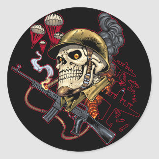 Airborne or Marine Paratrooper Skull with Helmet Classic Round Sticker