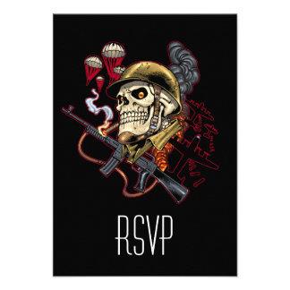 Airborne or Marine Paratrooper Skull with Helmet Custom Invites