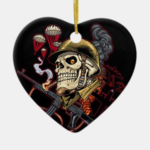 Airborne or Marine Paratrooper Skull with Helmet Christmas Ornament