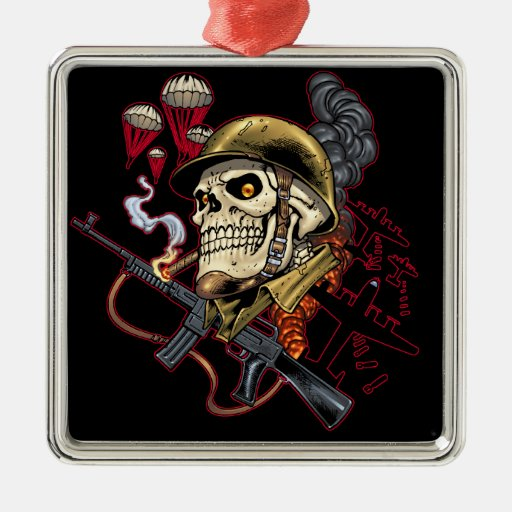 Airborne or Marine Paratrooper Skull with Helmet Christmas Ornaments