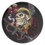 Airborne or Marine Paratrooper Skull with Helmet Party Plate