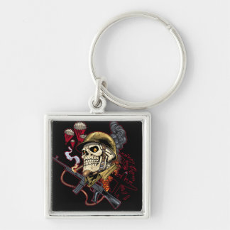 Airborne or Marine Paratrooper Skull with Helmet Silver-Colored Square Keychain