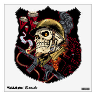 Airborne or Marine Paratrooper Skull with Helmet Wall Decal