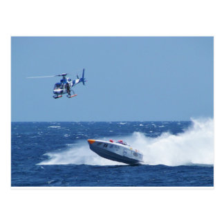 Airborne Powerboat And Helicopter Postcard