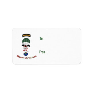 Airborne Santa Gift Tag Custom Address Label