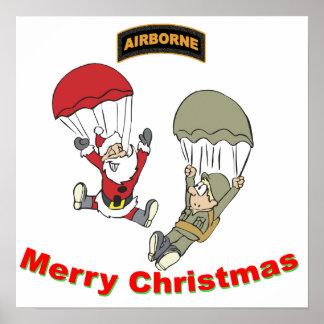 Airborne Santa II Light T-Shirt Poster
