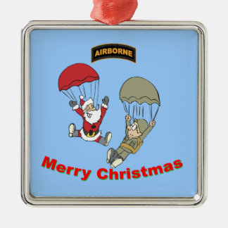 Airborne Santa II Square Metal Christmas Ornament