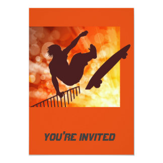 Airborne Skateboarder in Orange and Yellow Bokkeh Card