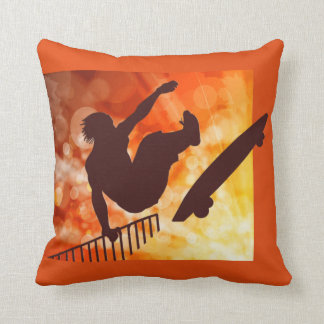 Airborne Skateboarder in Orange and Yellow Bokkeh Throw Pillow
