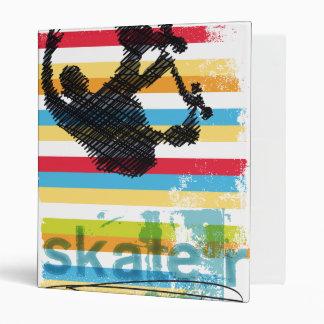 Airborne Skateboarder on Rainbow Stripes Binder