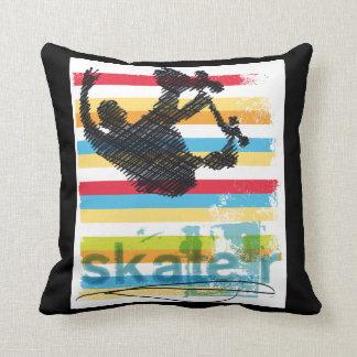 Airborne Skateboarder on Rainbow Stripes Throw Pillow