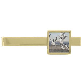 Airborne Snow Geese Gold Finish Tie Bar