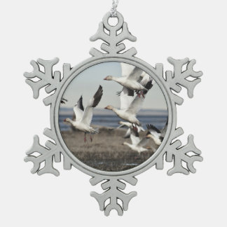 Airborne Snow Geese Snowflake Pewter Christmas Ornament