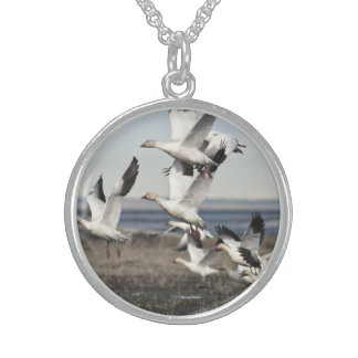 Airborne Snow Geese Sterling Silver Necklace