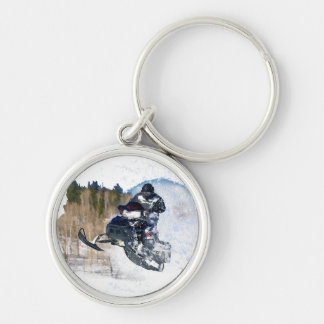 Airborne Snowmobile Silver-Colored Round Keychain
