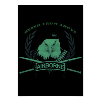 Airborne troops military insignia style poster