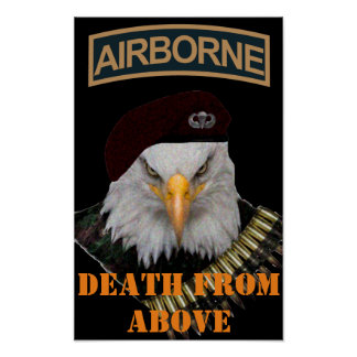 Airborne units bold eagle army style art poster