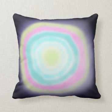 Beach Themed Airbrushed circles green pink blue throw pillow