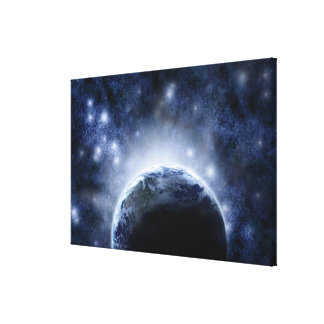 Airbrushed night sky full of stars around planet canvas print