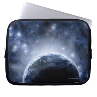 Airbrushed night sky full of stars around planet computer sleeve
