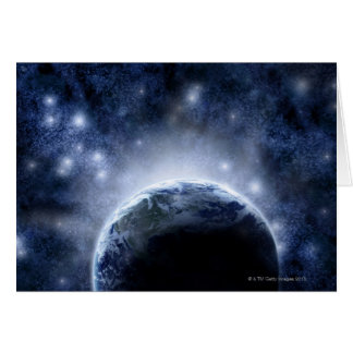 Airbrushed night sky full of stars around planet greeting card
