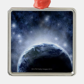 Airbrushed night sky full of stars around planet metal ornament