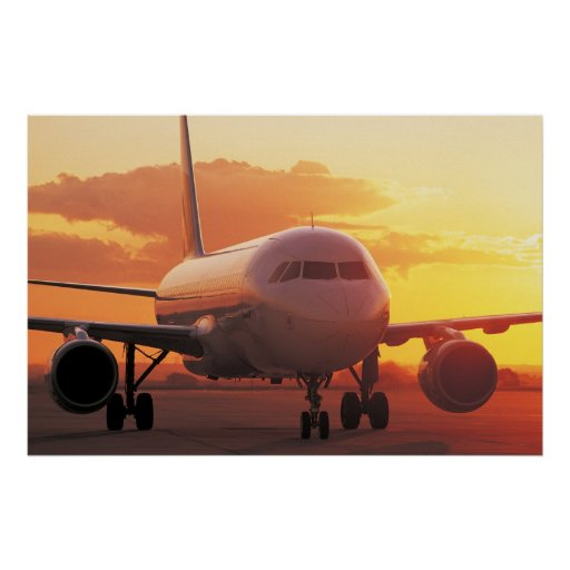 Airbus A320 - Backing on Sunset Poster