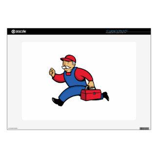 """Aircon Technician Running Cartoon 15"""" Laptop Decals"""