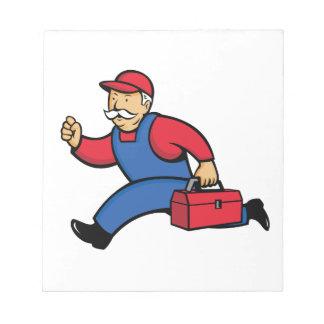 Aircon Technician Running Cartoon Notepad