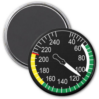 Aircraft Airspeed Indicator 3 Inch Round Magnet
