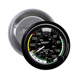 Aircraft Airspeed Indicator Gauge Pinback Button