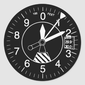 Aircraft Altimeter Gauge Classic Round Sticker