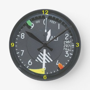JFVisualMedia Aircraft Altimeter Indicator Gauge Wall clock