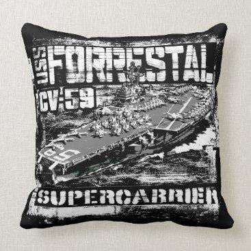 Aircraft carrier Forrestal Throw Pillow