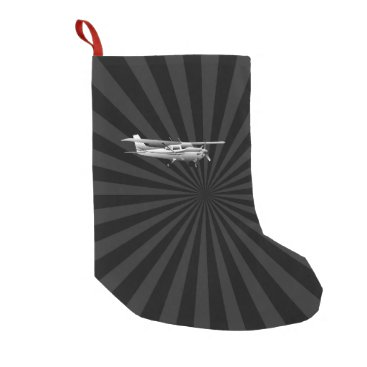 AmericanStyle Aircraft Cessna Silhouette Flying Black Burst Small Christmas Stocking