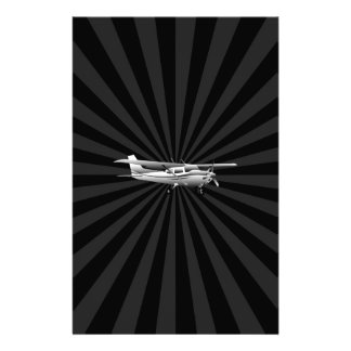 Aircraft Cessna Silhouette Flying Black Burst Stationery