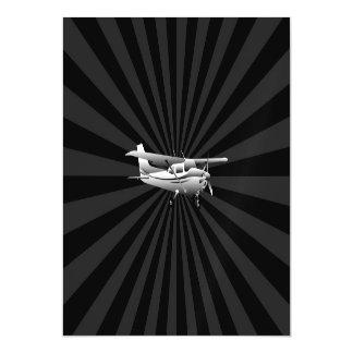 Aircraft Cessna Silhouette Flying Sunburst Decor Magnetic Card