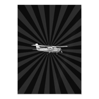 Aircraft Cessna Silhouette Flying Sunburst Decor Magnetic Card