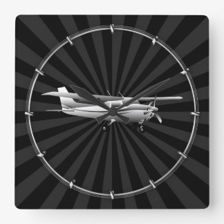 Aircraft Cessna Silhouette Flying Sunburst Decor Square Wall Clock