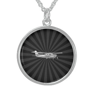 Aircraft Cessna Silhouette Flying Sunburst Decor Sterling Silver Necklace