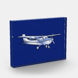 Aircraft  Chrome Cessna Silhouette Flying on Blue Acrylic Award