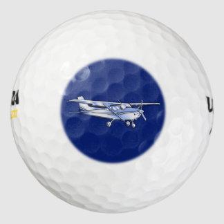Aircraft  Chrome Cessna Silhouette Flying on Blue Golf Balls