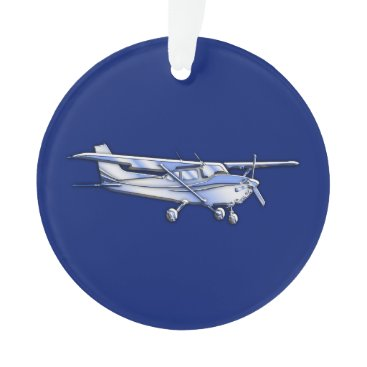 AmericanStyle Aircraft  Chrome Cessna Silhouette Flying on Blue Ornament
