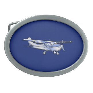 Aircraft  Chrome Cessna Silhouette Flying on Blue Oval Belt Buckle