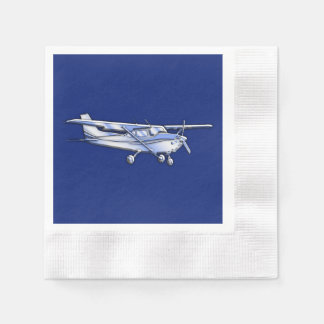 Aircraft  Chrome Cessna Silhouette Flying on Blue Paper Napkin