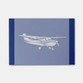 Aircraft  Chrome Cessna Silhouette Flying on Blue Post-it Notes
