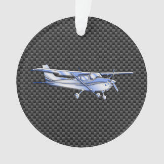 Aircraft Chrome Like Cessna Black Carbon Fiber Ornament